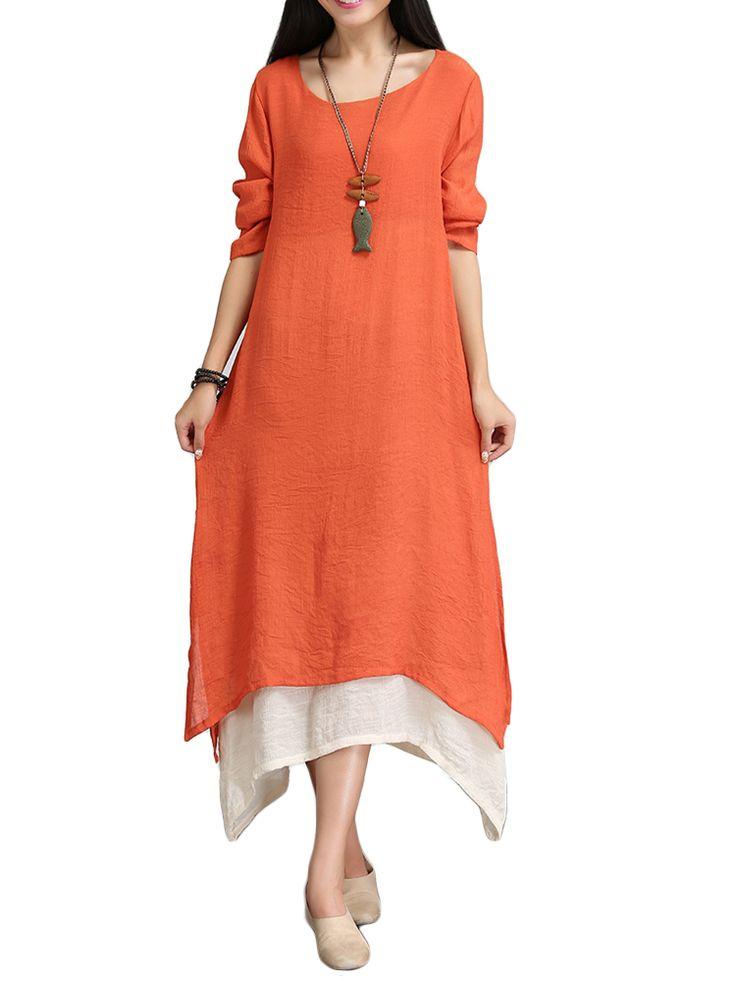 Elegant Women False Two-piece Boho Loose Cotton Linen Maxi Dress