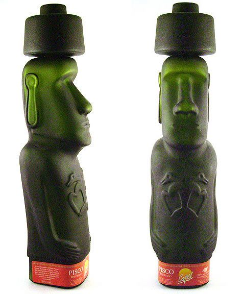 Easter island Pisco. How cool is this bottle #packaging PD