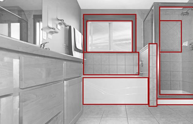 In this one point perspective photo, surfaces facing the viewer are undistorted and show their true shape. For example, we see the side of the bath, window and facing surfaces as ordinary squares and rectangles. Their sides are parallel with the edges of the photograph.