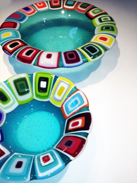 Glass bowls: Turquiose. 40 and 30 cm in diameter. By the danish designer and artist Louise Lagoni.