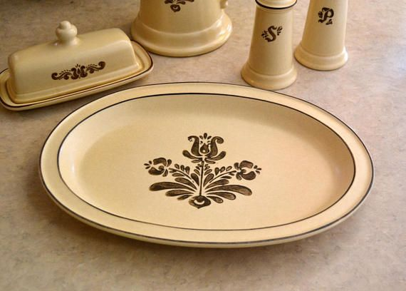 Tan and Brown Made in USA 14 Pfaltzgraff Vintage Village Platter