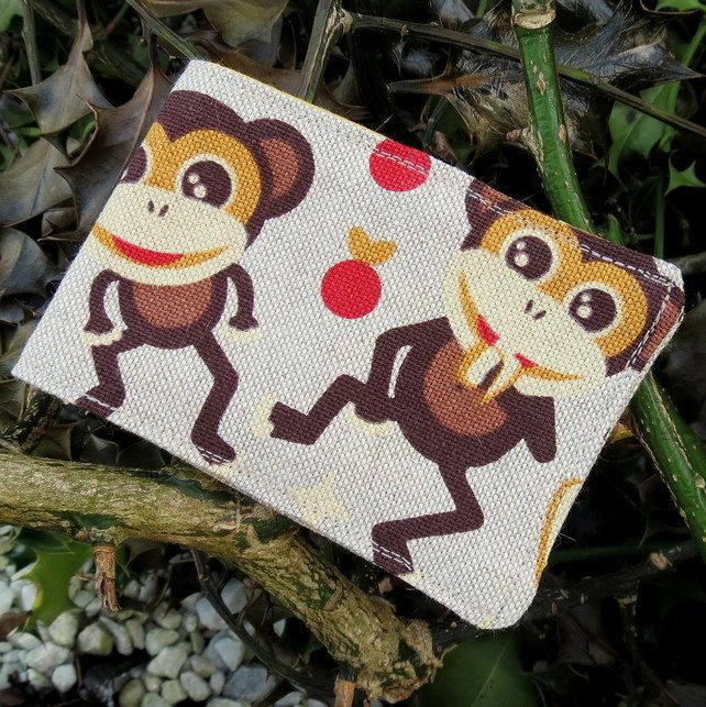 Oyster card holder. Travelcard Sleeve. A card holder with a monkeys design. £5.50