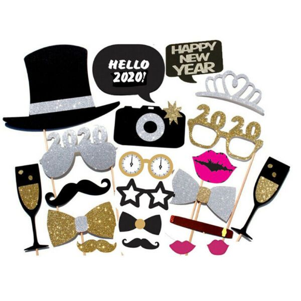 21PCS 2021 New Year s Eve Party Card Masks Photo Booth ...