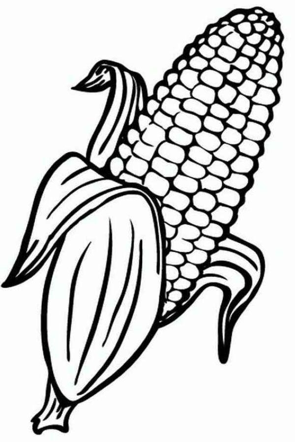 Corn Coloring Pages Printable Boyama Sayfalari Sanatsal Baski