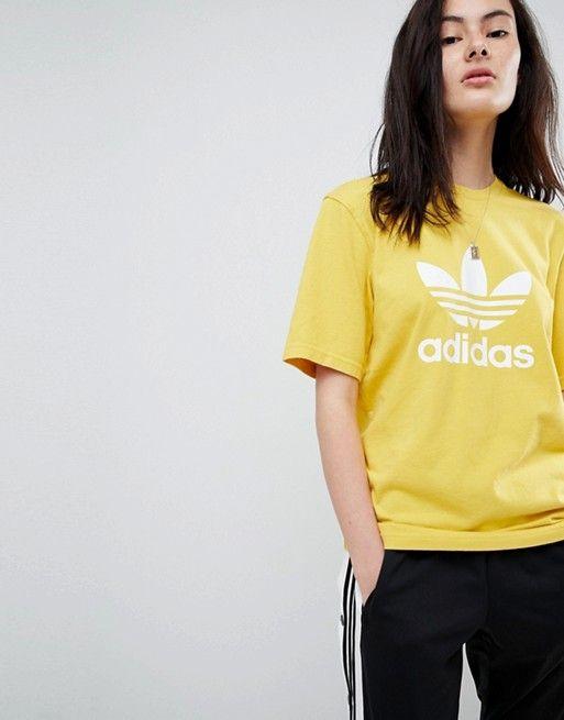 5f1e9a47176c adidas Originals adicolor Trefoil Oversized T-Shirt In Yellow in 2019