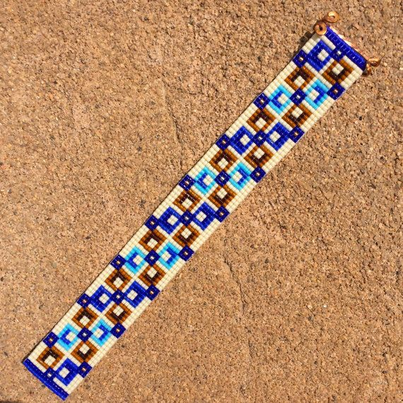 Square Deal Bead Loom Bracelet Artisanal Jewelry by PuebloAndCo