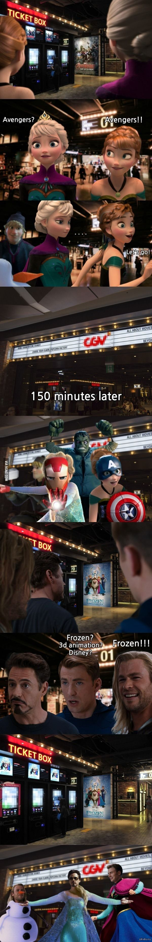 What Will Happen If Avengers And Frozen Casts Go To Watch The Movie Of Each Other's