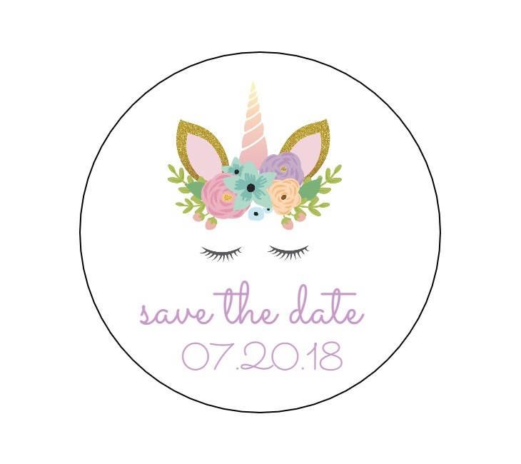 20 Unicorn Save the Date, Envelope Seals, Invite Stickers, Save the