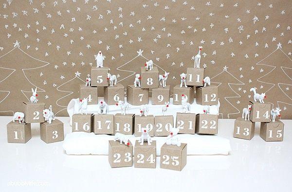 calendrier de l'avent DIY calendrier-avent-DIY-5-idées-bricoler-originales-boîtes-carton-animaux-blancs-pon-pons-nez