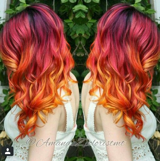 red orange ombre dyed hair color with highlights @amandazcoloristmt