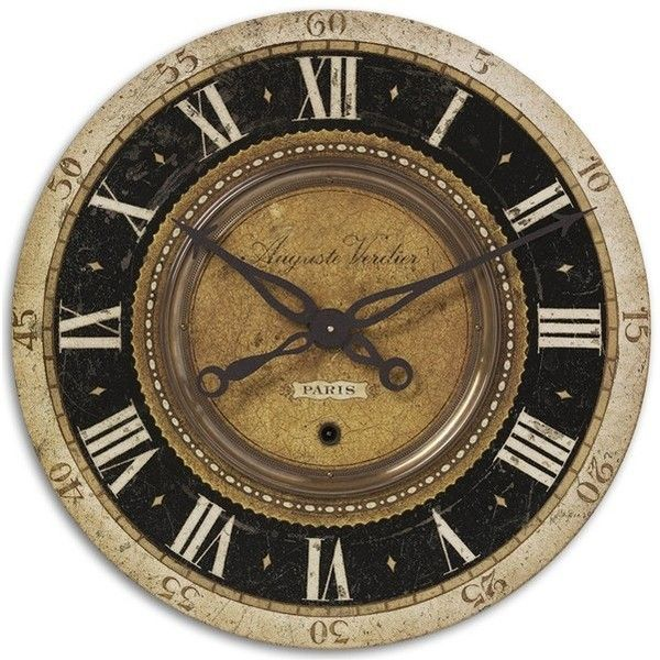 Uttermost 'Auguste Verdier' Wall Clock (€165) ❤ liked on Polyvore featuring home, home decor, clocks, decor, filler, brown, uttermost clocks, brown wall clock, uttermost home decor and uttermost wall clocks