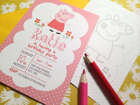 Personalised Peppa Pig George Pig Birthday Party Invitation Stationary