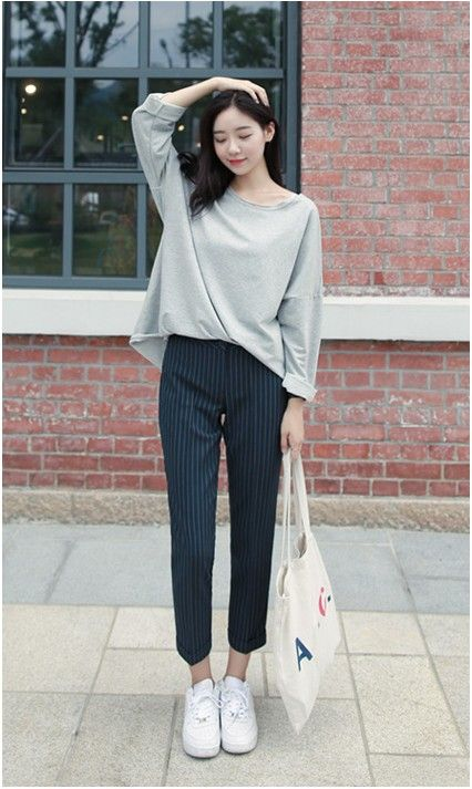Rico Stripes 9 Slacks | Korean Fashion