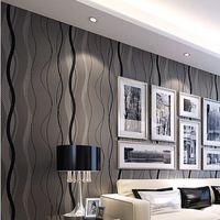 Волновые линии полосы современные обои серый нетканые wallcovering классический блеск обои фоне стены обои гостиной