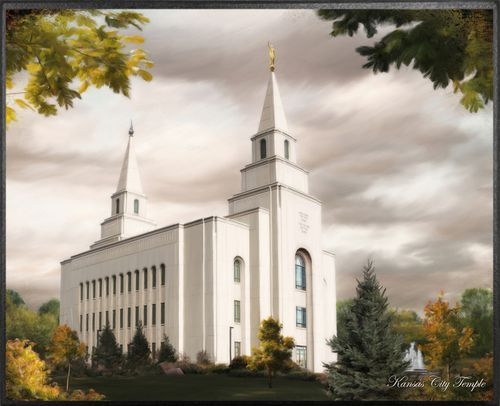 <p>This side view  of the Kansas Temple surrounded by trees in yellow and deep green hues accents the Angel Moroni atop one of its two spires.</p>