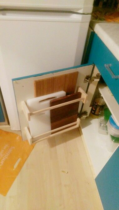 Chopping board storage using Ikea Bekvam spice racks