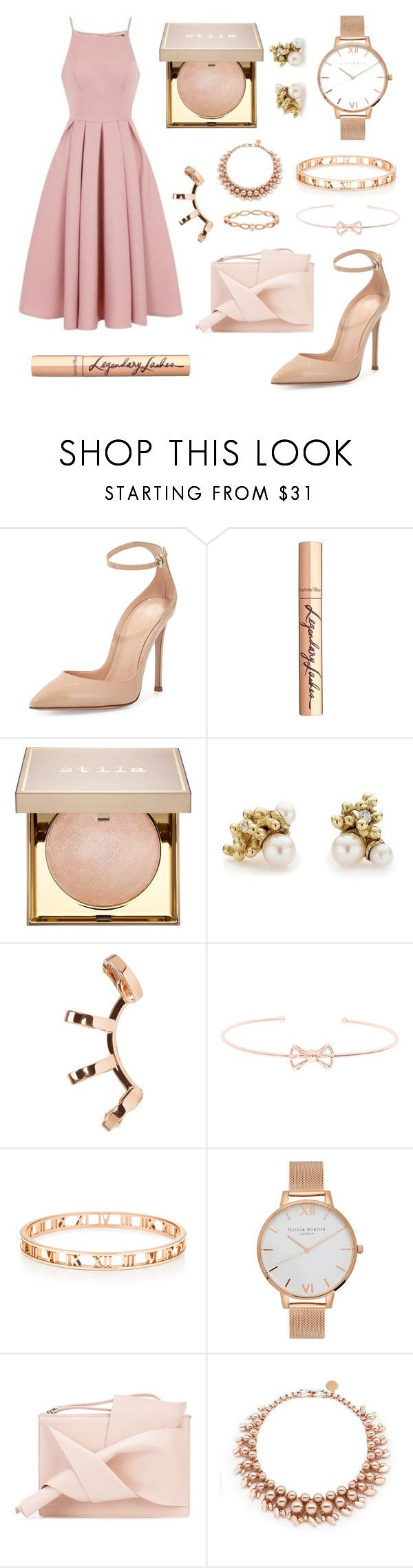 """Theme: Prom Night"" by anna-james-21 ❤ liked on Polyvore featuring Chi Chi, Gianvito Rossi, Charlotte Tilbury, Stila, Ruth Tomlinson, Repossi, Ted Baker, Olivia Burton, N°21 and Ellen Conde"