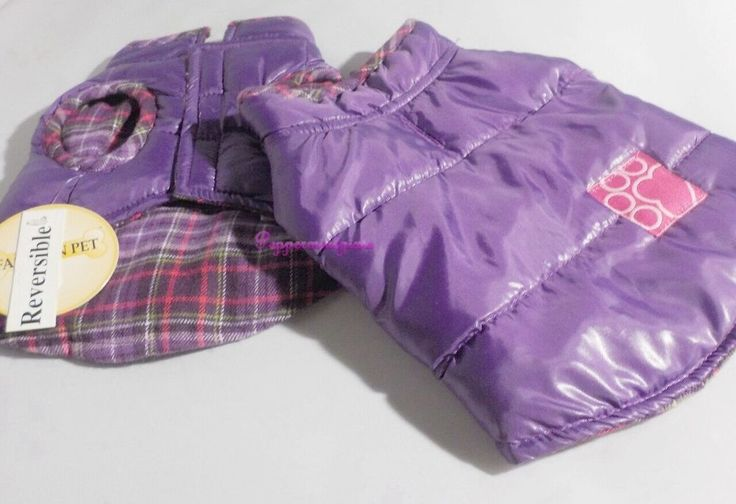 Dog Fashion Extra Small Purple Reversible Puffer Vest Coat toasty Sale New Tags  #FashionPetVest  Puffer Jacket-  Get ready for the compliments!!!   Style No. 503PUXS Now your best buddy has the coolest designer Parka on the block!   Straight off the catwalk (& made for dog walks:)   perfect for the canine fashionista Weatherproof Slick Glossy  reverses to a soft yarn classic flannel plaid inside  that's fully wearable and adorable on the inside or out