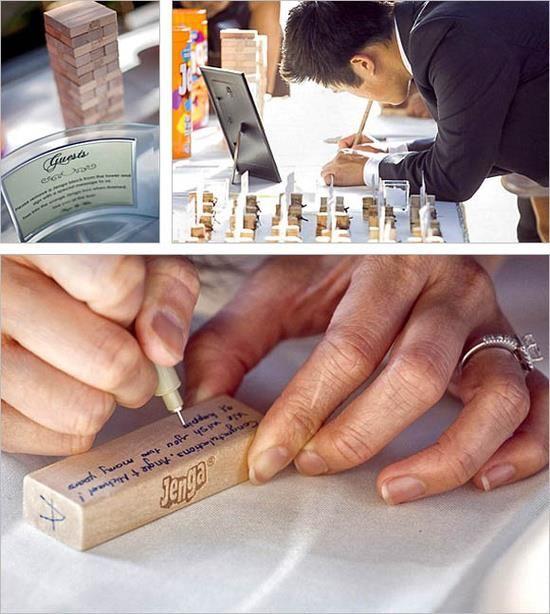 Divertida idea para tu album de firmas. Utiliza las piezas del juego Jenga para que tus invitados escriban sus buenos deseos.