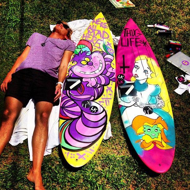 Alice in Wonderland Surfboard Graphics Art