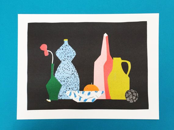Risograph print of a stillife with a black dotted blue bottle