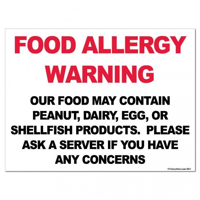 Example Food Allergen Signs For Restaurants