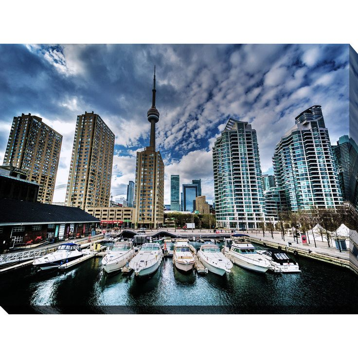 """FramedCanvasArt.com """"Marina and buildings at the Harbourfront, in Toronto, Ontario"""" Giclee Print Canvas Wall Art"""