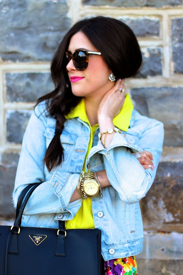 Cool way to wear neon color shirts with collars
