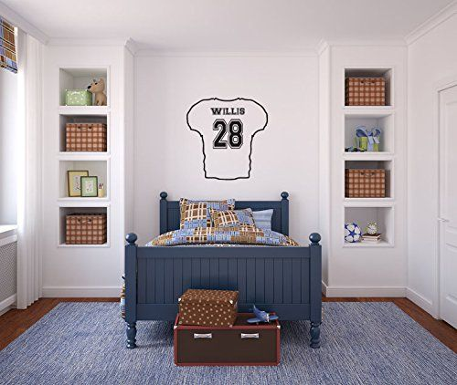 Football Sports Jersey with Custom Name and Number Vinyl Wall Words Decal Sticker Graphic. Measures 30 x 30 inches. Please select either solid jersey or outline jersey in the options section. The front will not have the name, just the number. Made from high quality adhesive vinyl that will last indefinitely indoors and has an outdoor rating of up to 10 years. Some decals may be in multiple sections due to the size of the design. Our vinyl graphics are easy to apply to any smooth surface…