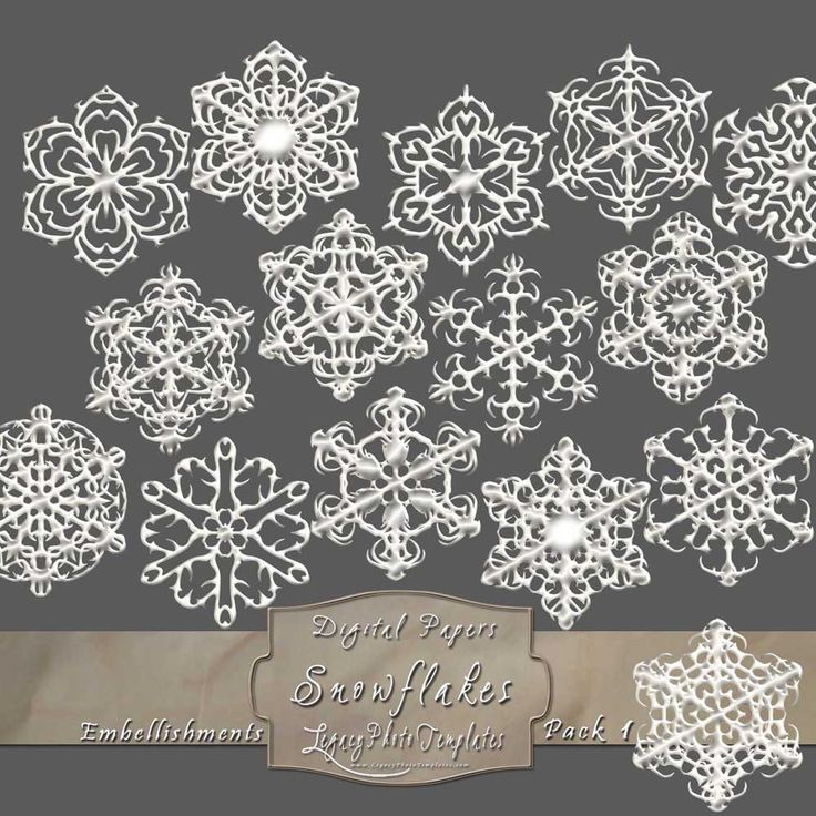 15 Frosty Snowflake Overlays - Pack 1 $4.75 #snowflakes, #white, #frosty, #winter, #embellishment, #scrapbooking