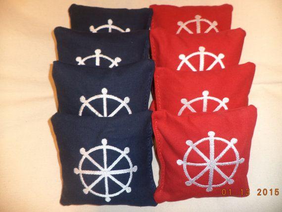 Cornhole Bags Nautical Anchor wedding corn hole by oddsandends2010