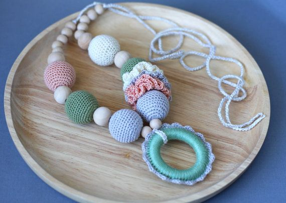 Nursing necklace with wooden ring  Teething by ForeverValues