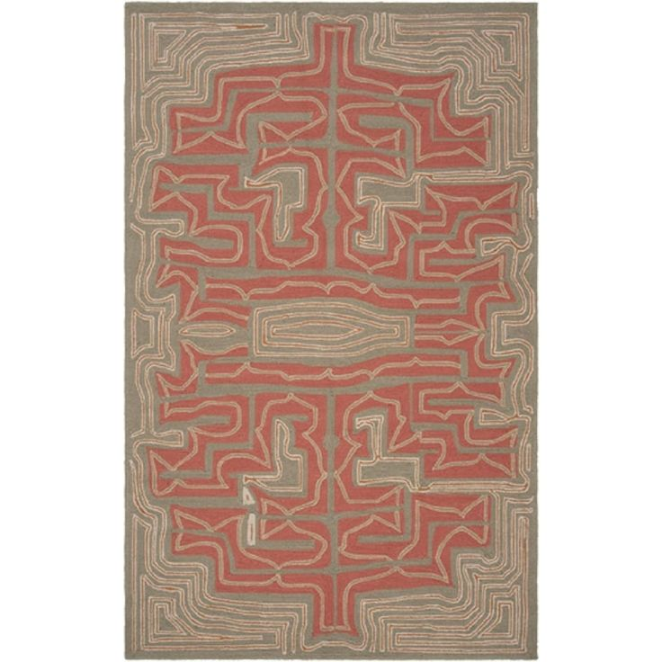 3' x 5' Labyrinth Grove Rustic Red, Olive Green and Beige Hand Hooked Outdoor Area Throw Rug, Outdoor Décor