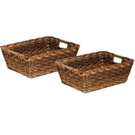 Seville Classics Handwoven Nesting Storage Basket 2-Piece Set, Mocha, Brown