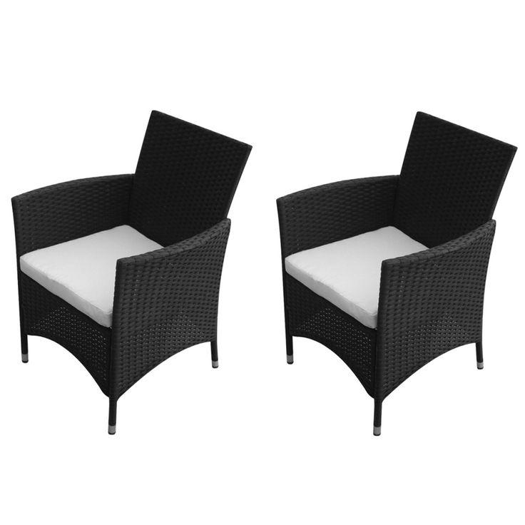 Rattan Garden Chairs Dining Black 2 Piece Cushions Set Outdoor Backyard New