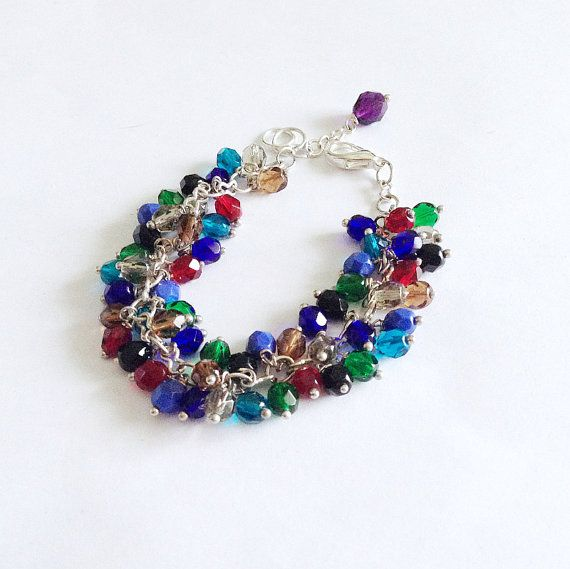 Colorful fire polished bracelet dark by LaPietraBluDiAvalon