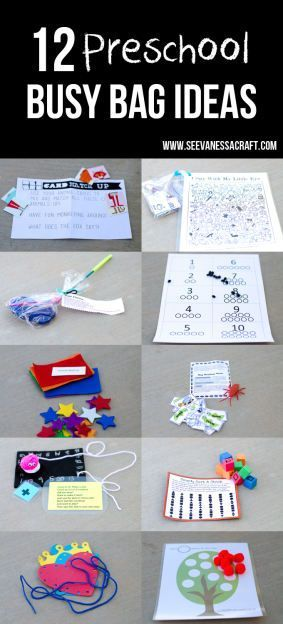 12 Fun Preschool Busy Bag Ideas. Screen-free activities when you're out and about.