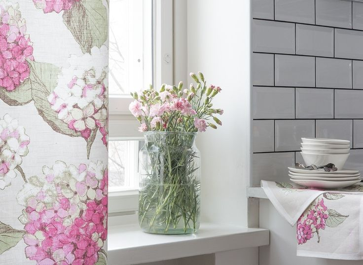 Hortensia Fabric  | Pentik | Beloved Hortensia fabric comes in different colours. Designer Minna Niskakangas sketched the original drawing of hydrangea on plywood with pencil and pastel.
