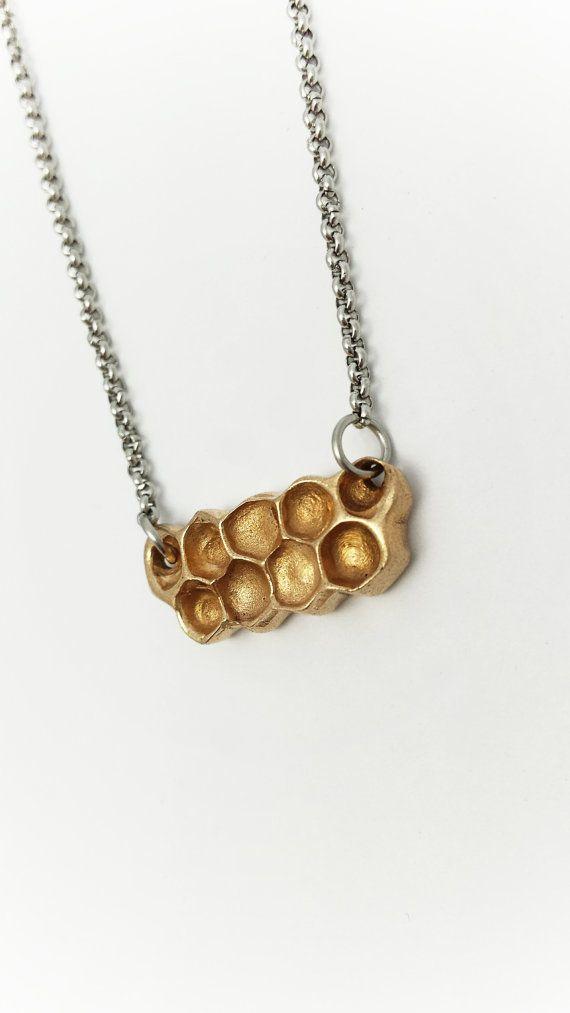 Honeycomb necklace Bronze Honeycomb Bronze jewelry by Brelokz