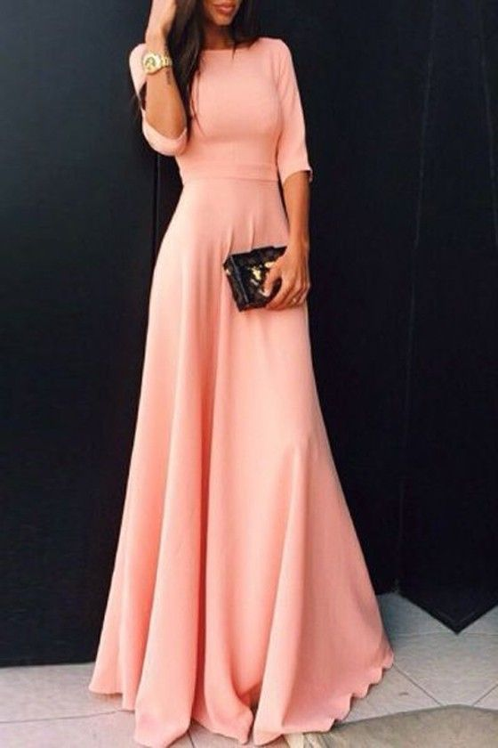 Pink Plain Ruffle Elbow Sleeve Elegant Maxi Dress
