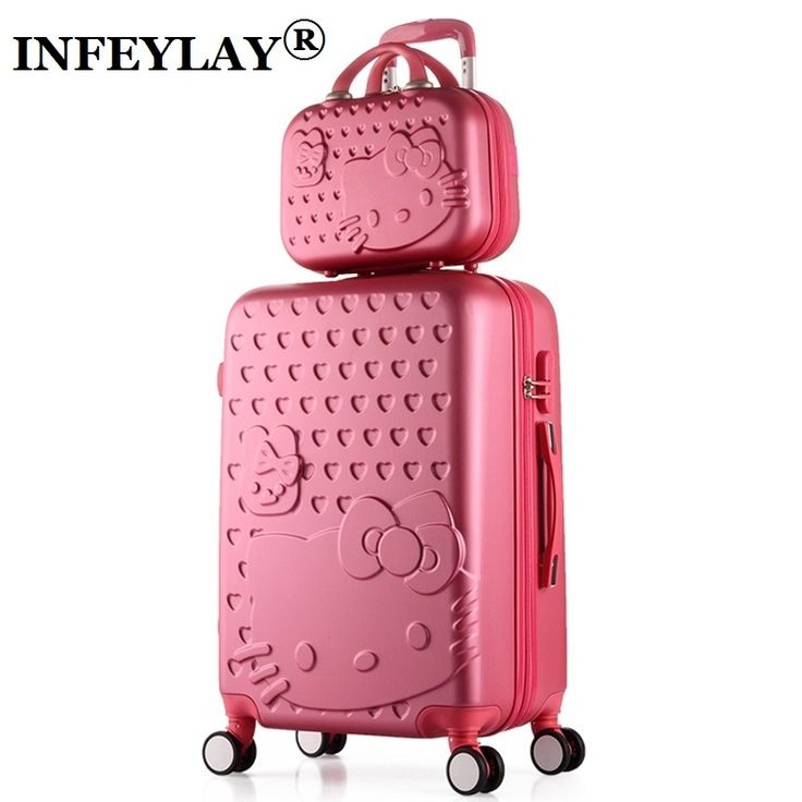 2PCS/SET Lovely 14inch Cosmetic bag hello Kitty 20 24 inches girl students trolley case Travel luggage woman rolling suitcase //Price: $220.89 & FREE Shipping //     #hashtag3