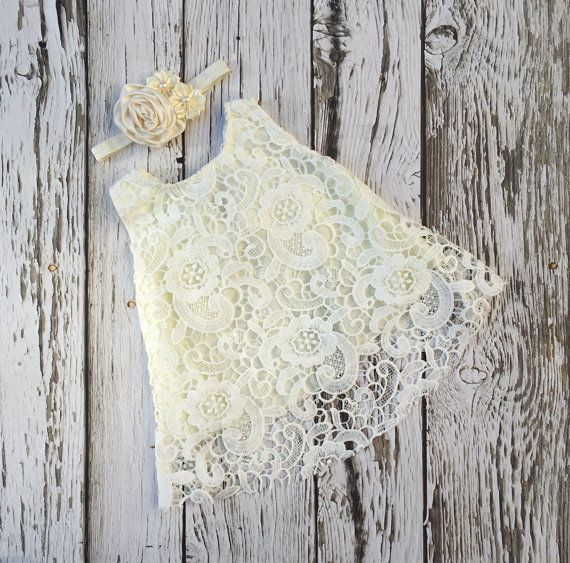Baby girl dress. Ivory lace baby dress. Baby girl by KadeesKloset