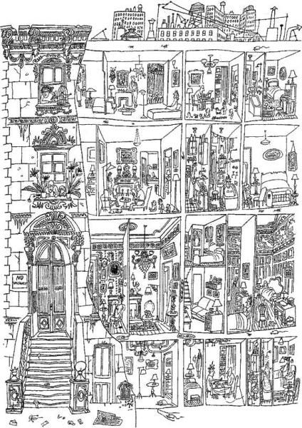 Georges Perec -La Vie : Mode d'Emploi -One of sources was a drawing by Saul Steinberg published in The Art of Living (1952)