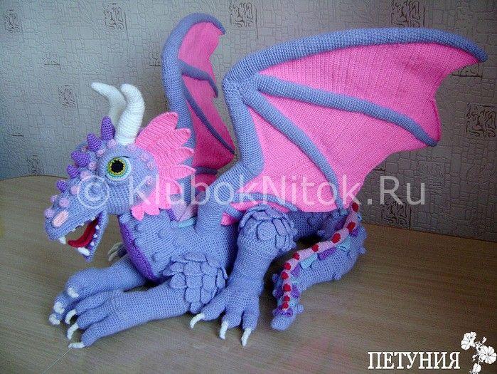 Большой дракон | Вязание для детей | Вязание спицами и крючком. Схемы вязания.