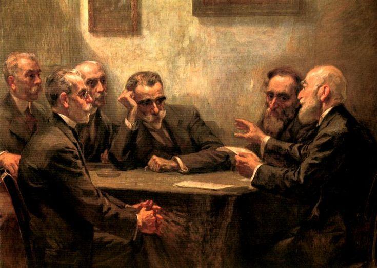 Γεώργιος Ροϊλός (1867-1928), Οι ποιητές (π. 1919). Λάδι σε μουσαμά, 130 εκ. x 170 εκ. Φιλολογικός Σύλλογος «Παρνασσός». Μεγάλοι ποιητές της γενιάς του 1880. Στα δεξιά της σύνθεσης απεικονίζεται ο Α. Προβελέγγιος να διαβάζει κάποιο ποίημά του, ενώ από τα αριστερά προς τα δεξιά διακρίνονται οι Γ. Στρατήγης, Γ. Δροσίνης, I. Πολέμης, K. Παλαμάς και Γ. Σουρής.