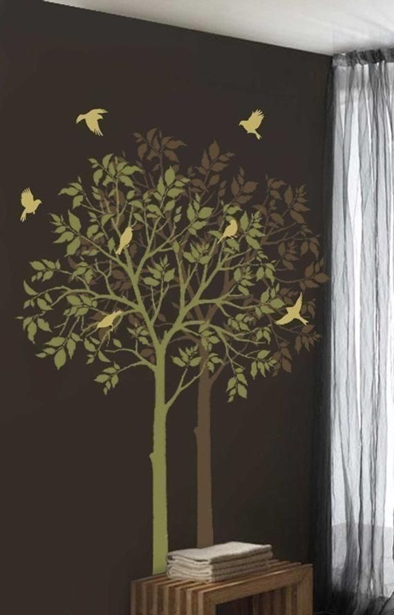 Large Tree And Birds Stencils Reusable Stencils For Diy Decor