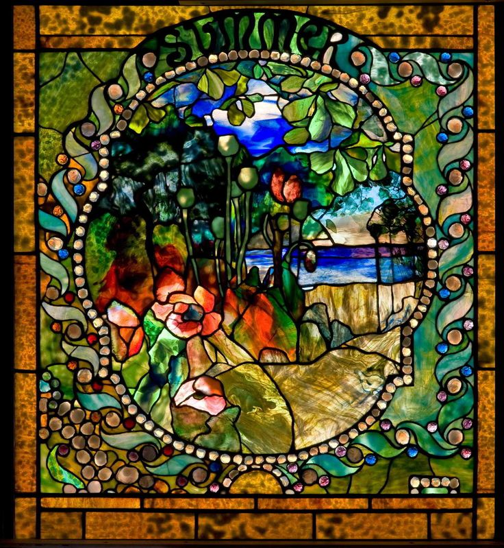 Summer panel from the Four Seasons window, c. 1899–1900. Living room, Laurelton Hall, Long Island, New York, 1902–57; exhibited: Exposition Universelle, Paris, 1900, and Prima Esposizione Internazionale d'Arte Decorative Moderna, Turin, Italy, 1902; leaded glass; Tiffany Glass and Decorating Company, New York City, 1892–1900; 40 1/2 x 36 5/8 in. (57-017).