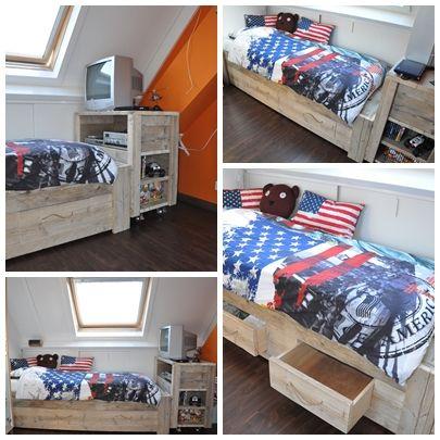 Tienerkamer Roan  Een robuust en stoere combinatie bed en tv meubel. Voor kleine jongens die groot worden. - by Johnny Blue