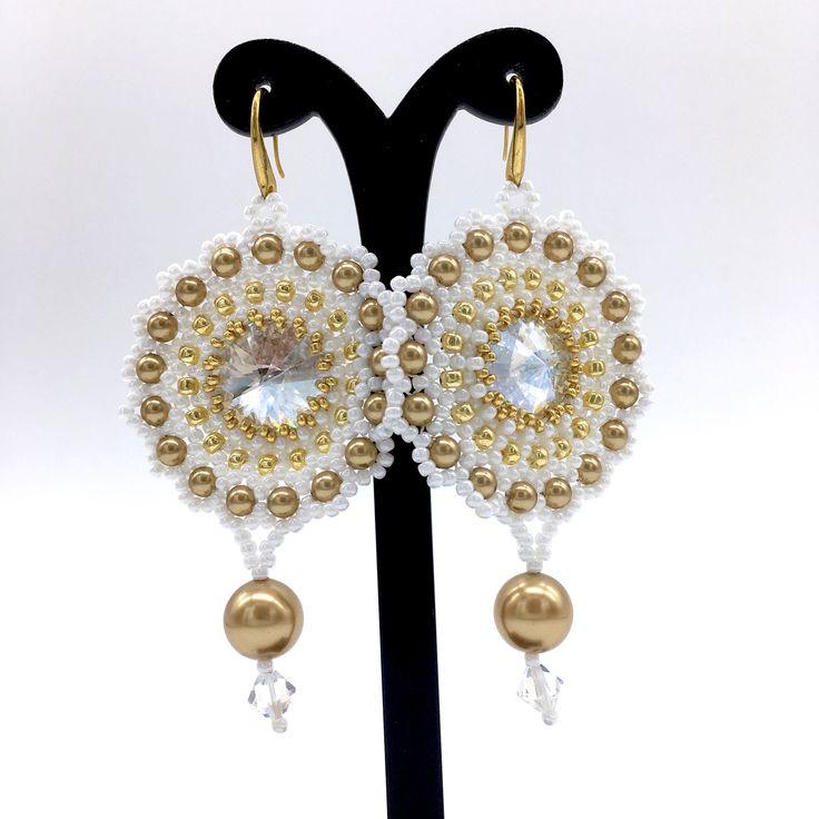 Wedding Earrings, SHADES OF GOLD, bridal earrings, crystal earrings, beaded earrings by Sjamgal on Etsy https://www.etsy.com/listing/505792538/wedding-earrings-shades-of-gold-bridal