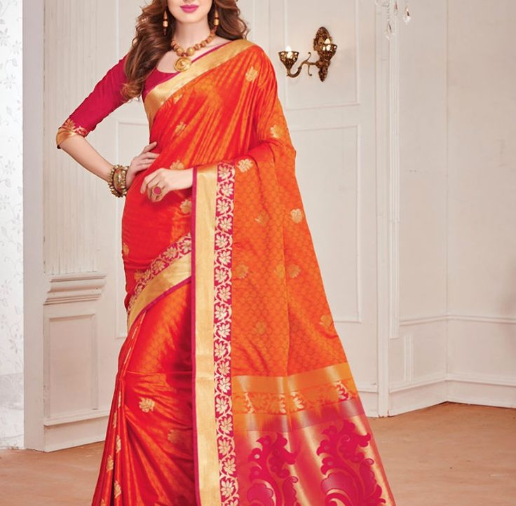 Traditional kanchipuram Orange And Pink Colour Silk Woven Saree by ZainabBoutique on Etsy